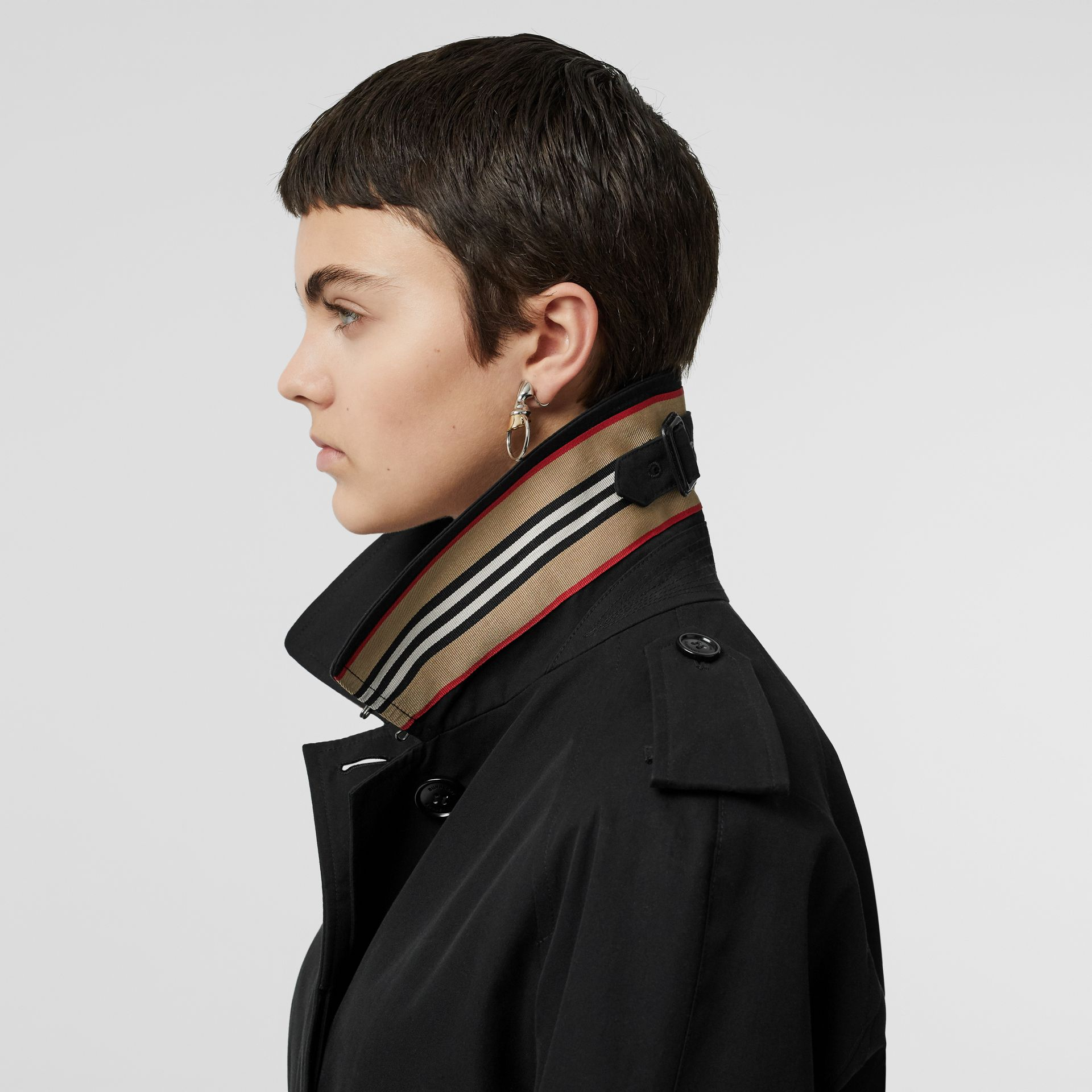 Tropical Gabardine Belted Car Coat in Black - Women | Burberry United States - gallery image 4