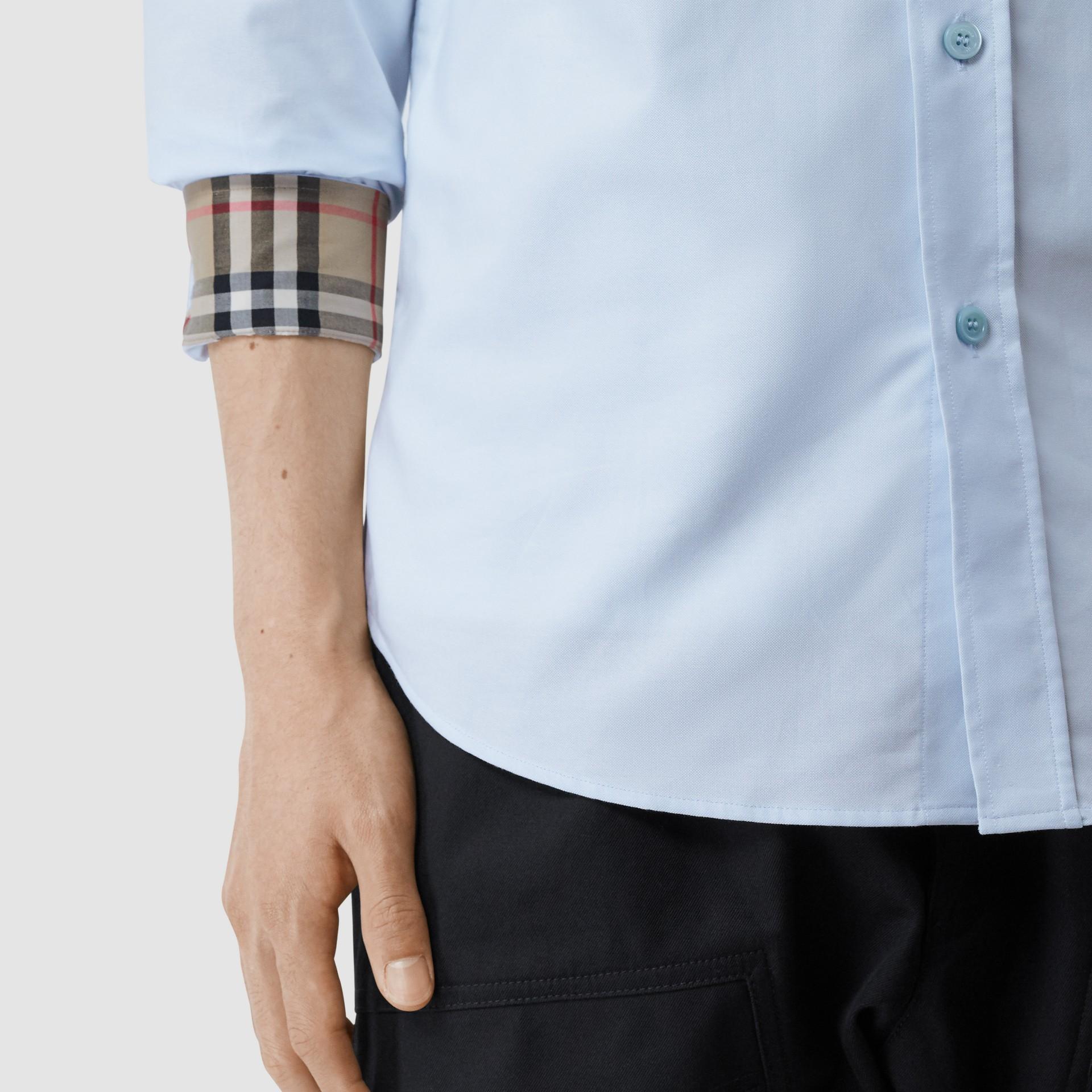 Monogram Motif Cotton Oxford Shirt in White - Men | Burberry - gallery image 4