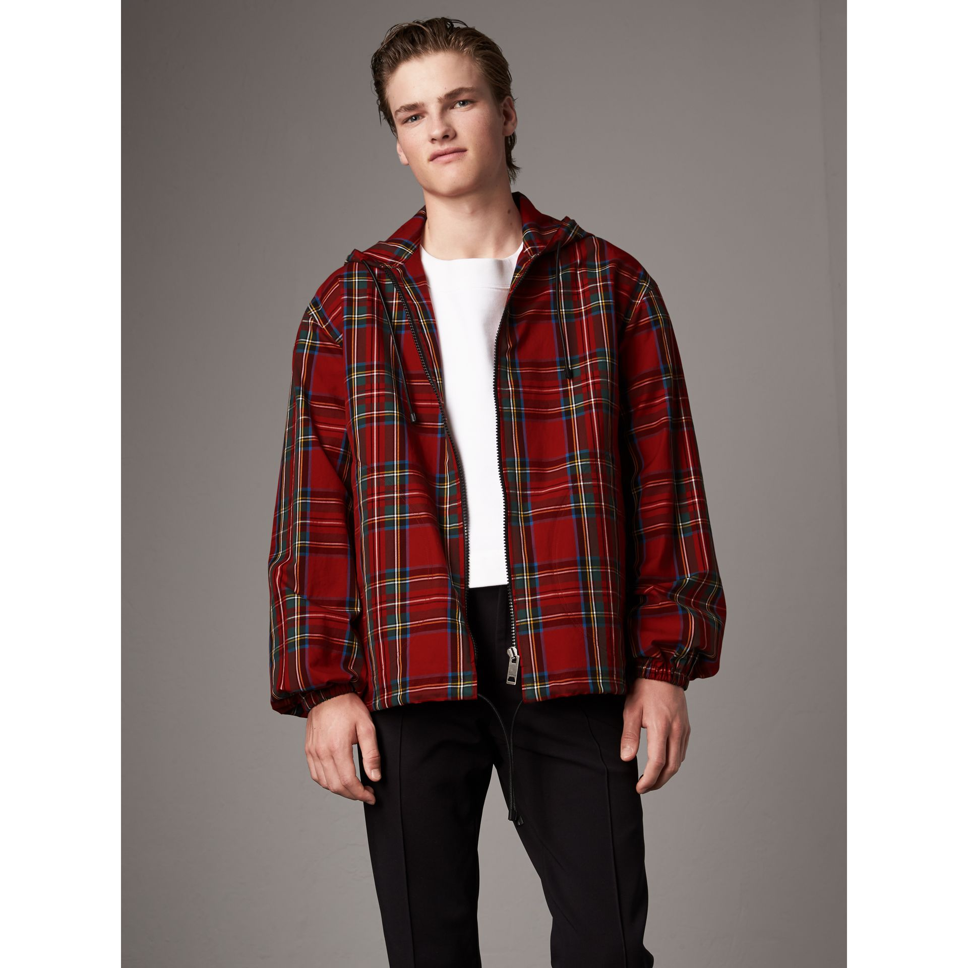Tartan Cotton Hooded Jacket in Bright Red - Men | Burberry United Kingdom - gallery image 7