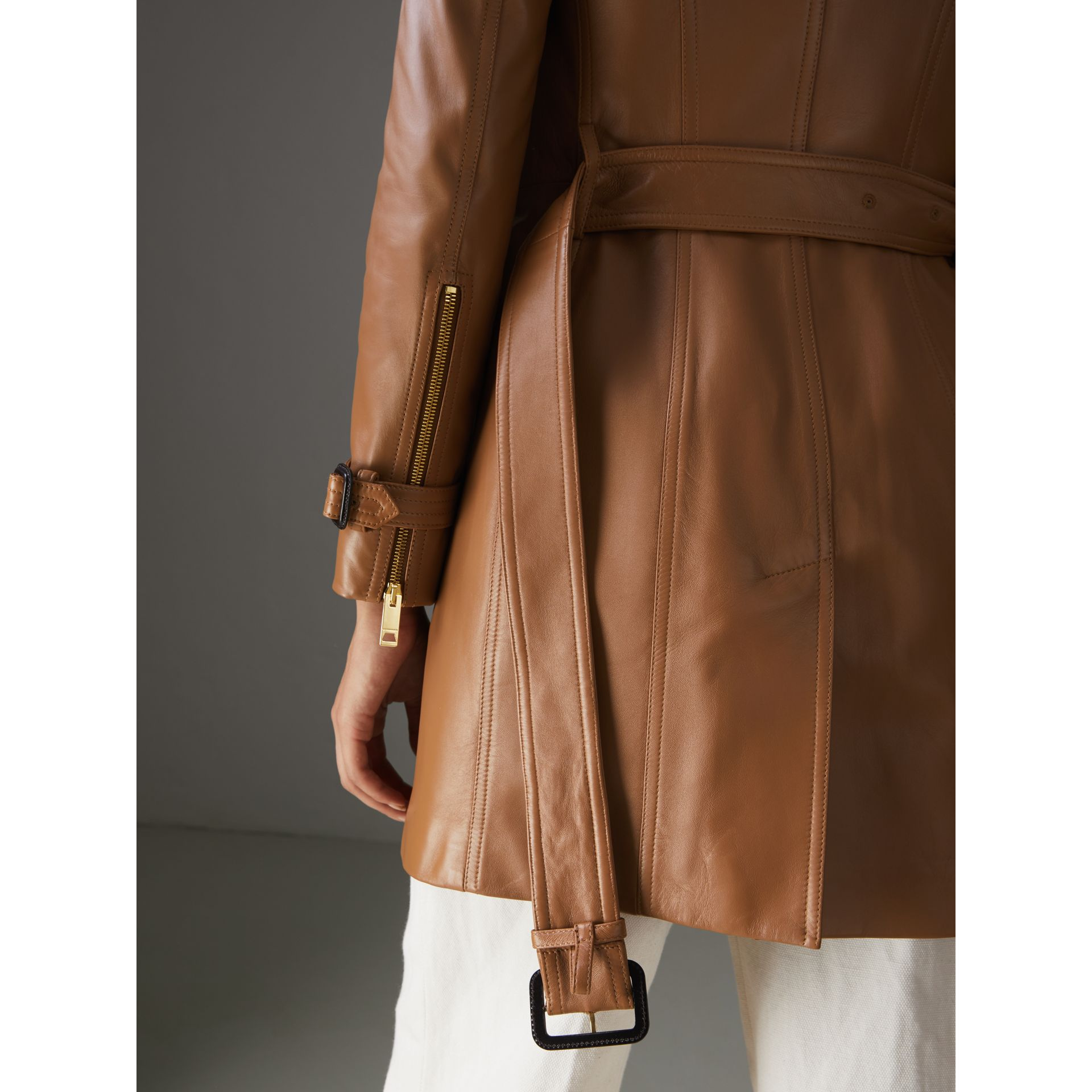 Sandringham Fit Lambskin Trench Coat in Caramel - Women | Burberry - gallery image 4