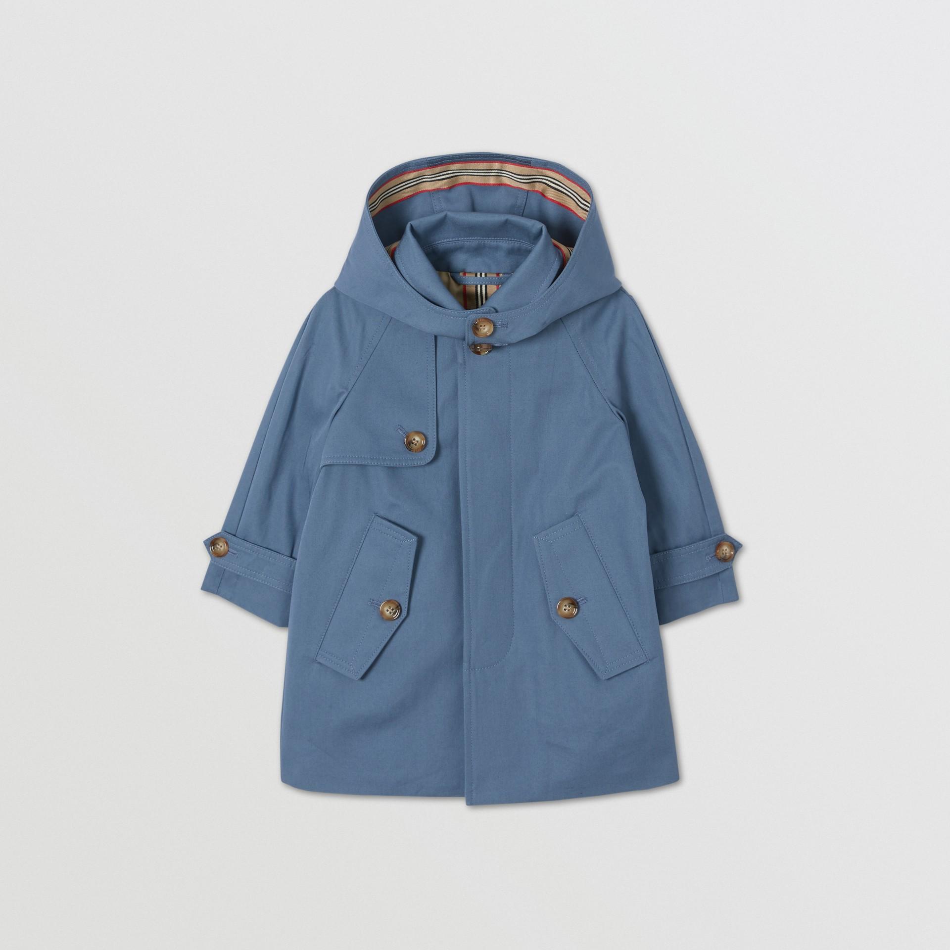 Detachable Hood Cotton Twill Car Coat in Steel Blue - Children | Burberry - gallery image 0