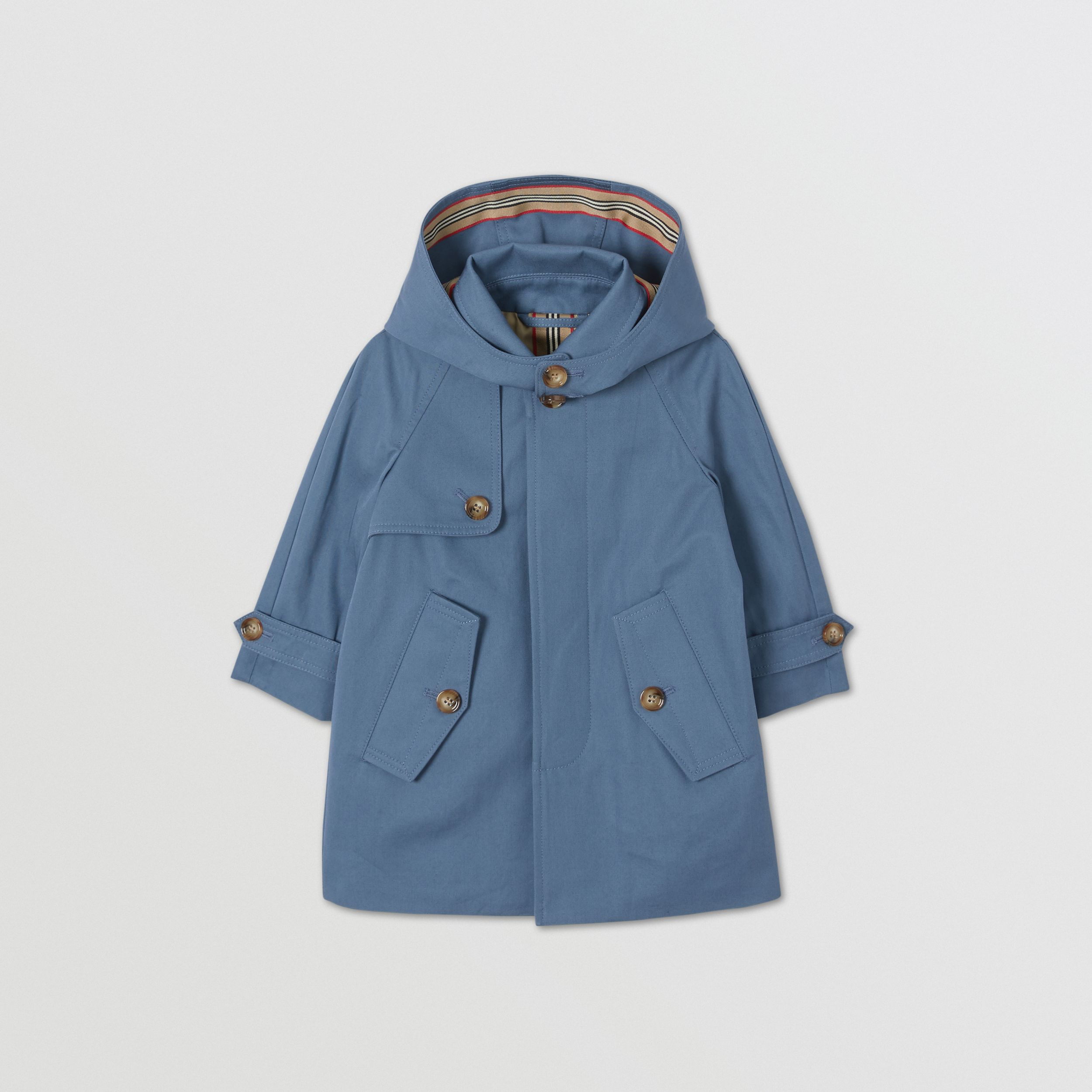 Detachable Hood Cotton Twill Car Coat in Steel Blue - Children | Burberry - 1