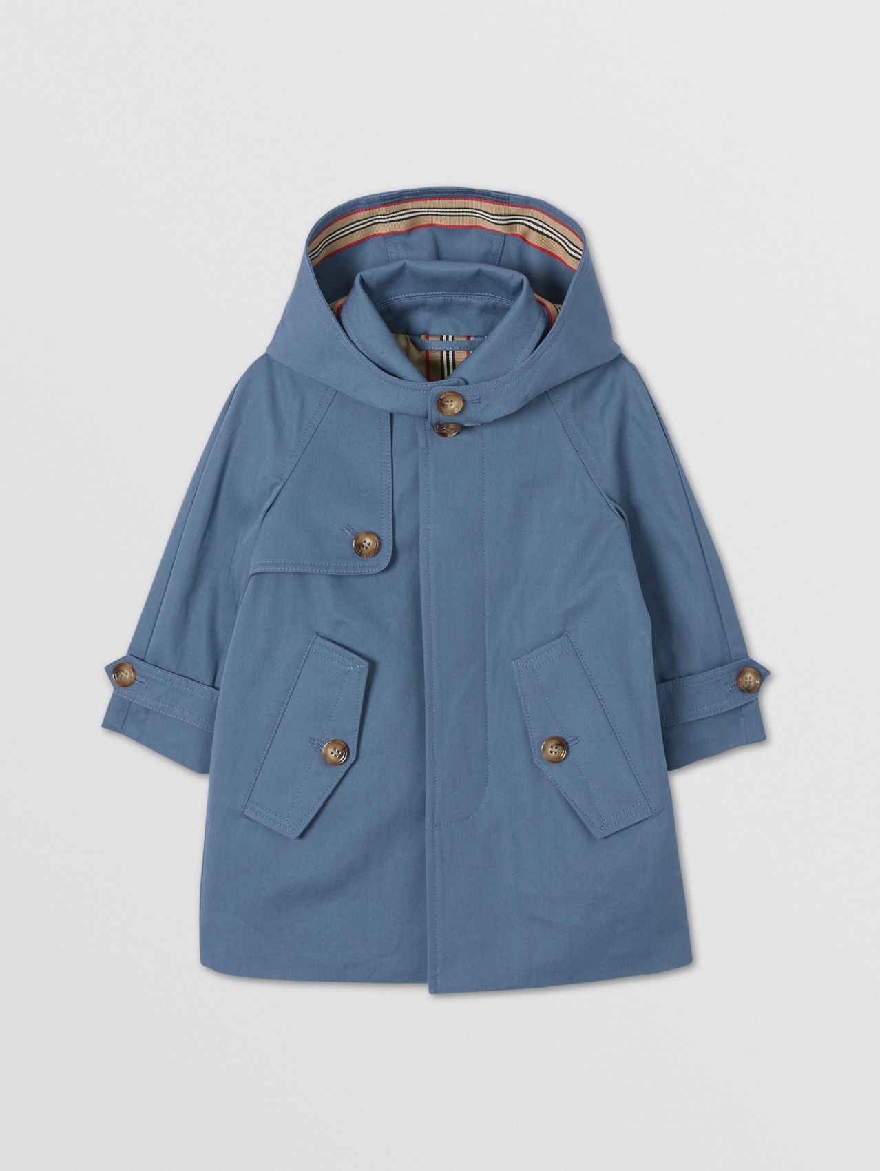 Detachable Hood Cotton Twill Car Coat in Steel Blue