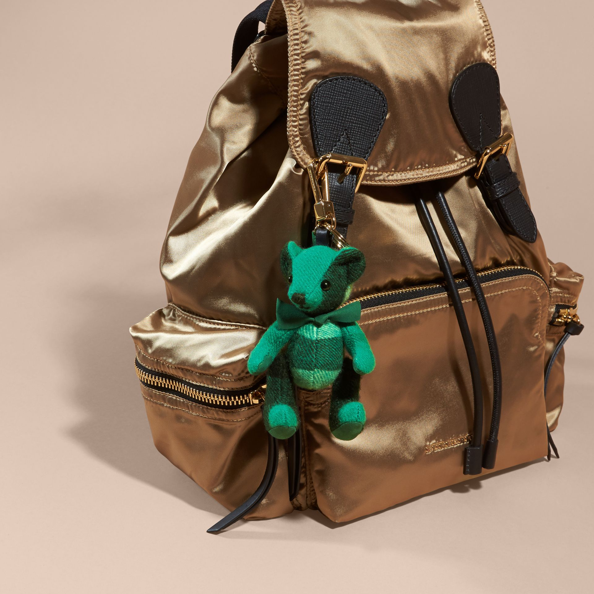 Thomas Bear Charm in Check Cashmere in Emerald | Burberry - gallery image 3