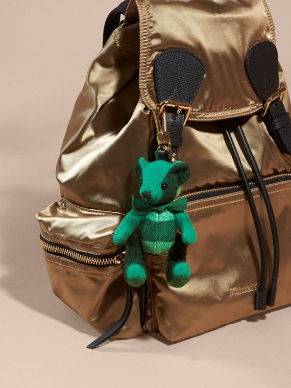 Thomas Bear Charm in Check Cashmere in Emerald | Burberry - cell image 2