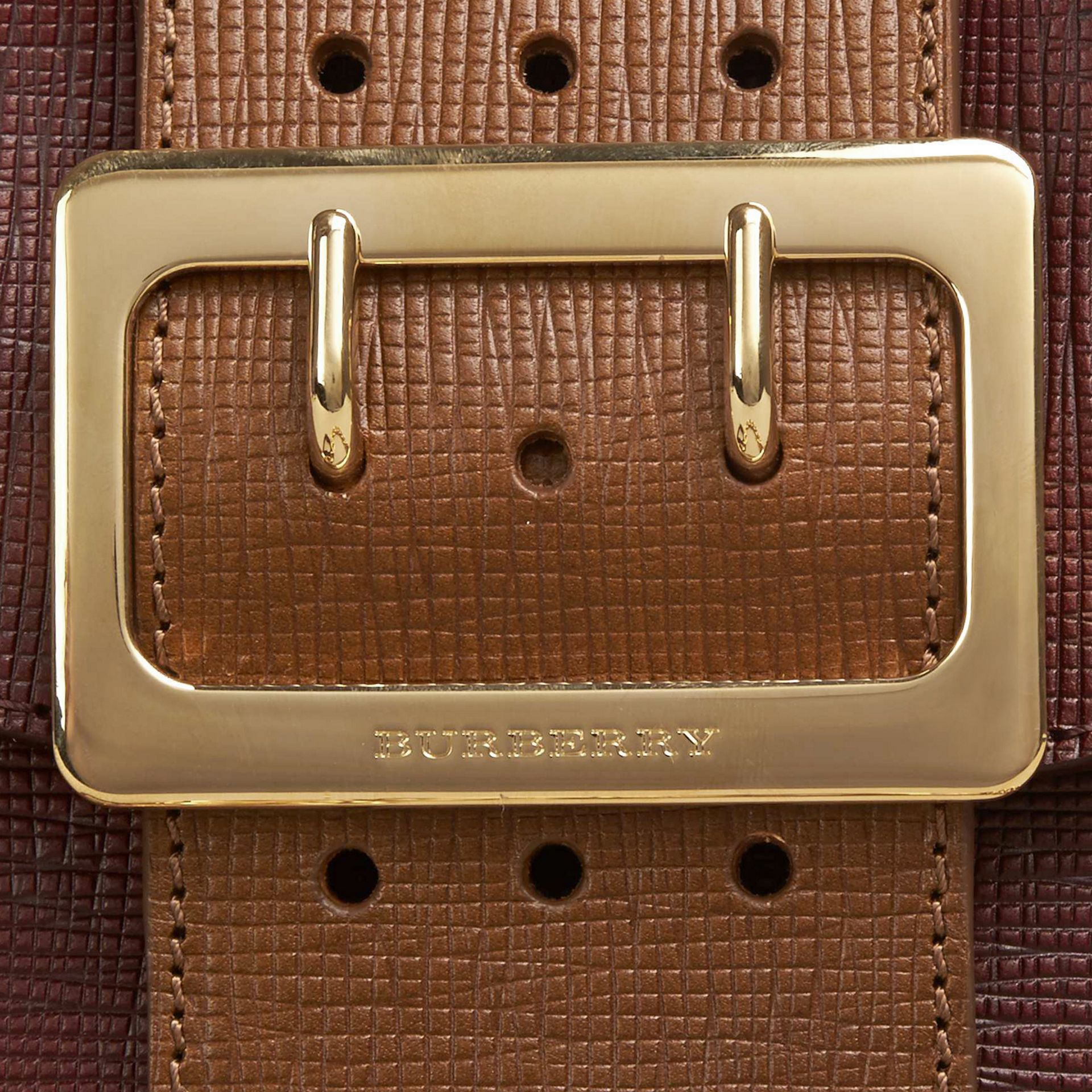 Burgundy The Small Square Buckle Bag in Leather and House Check Burgundy - gallery image 2