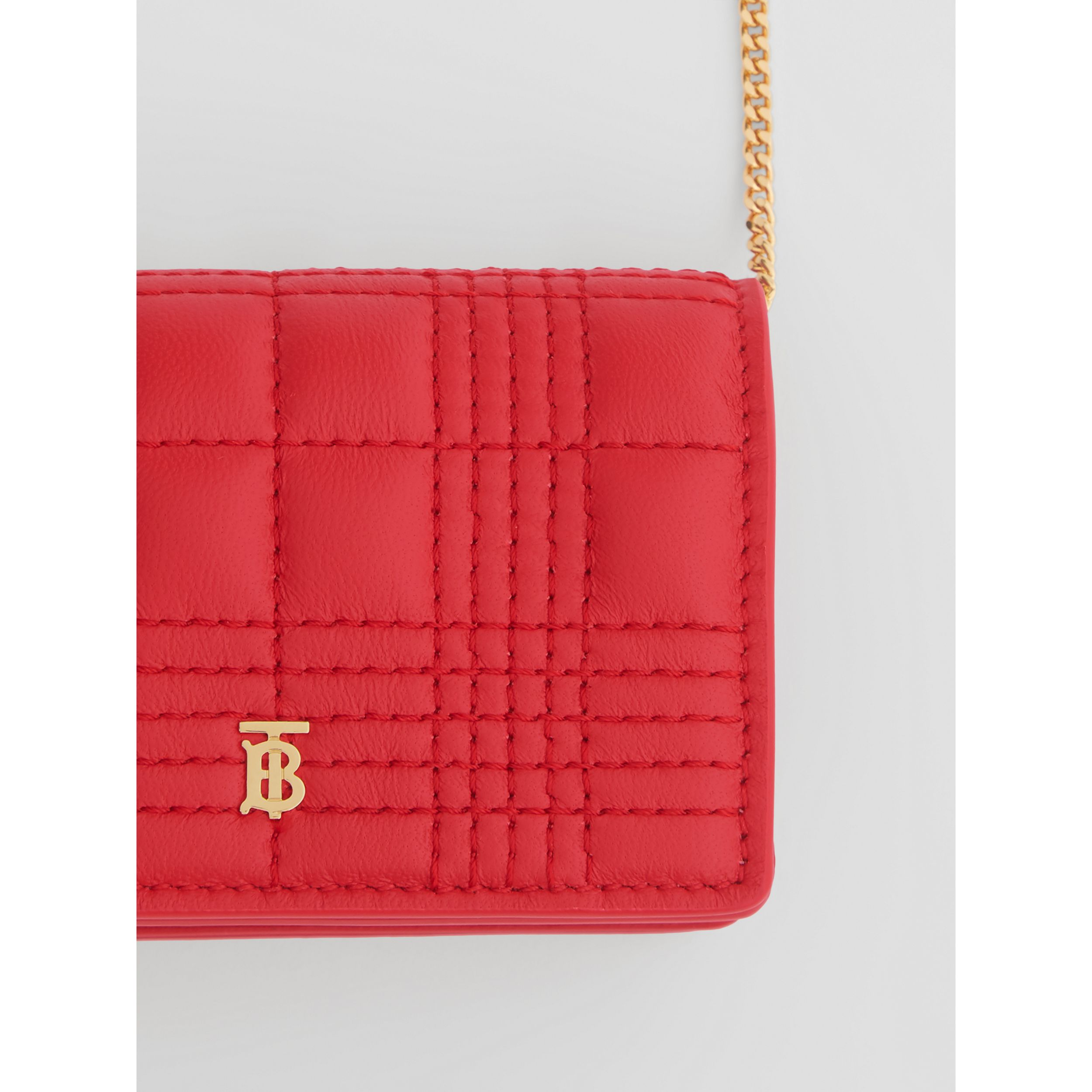 Quilted Lambskin Card Case with Detachable Strap in Bright Red | Burberry - 2