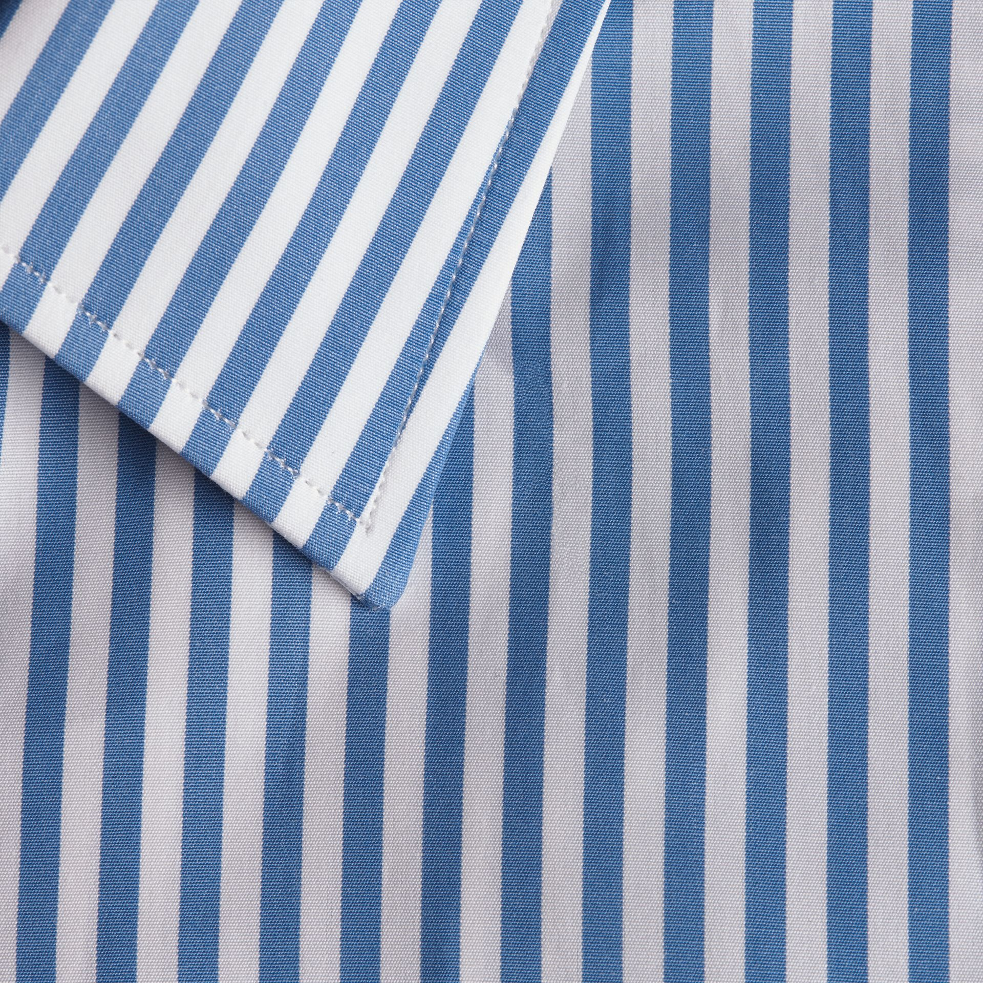 Mid blue Slim Fit Striped Cotton Poplin Shirt Mid Blue - gallery image 2