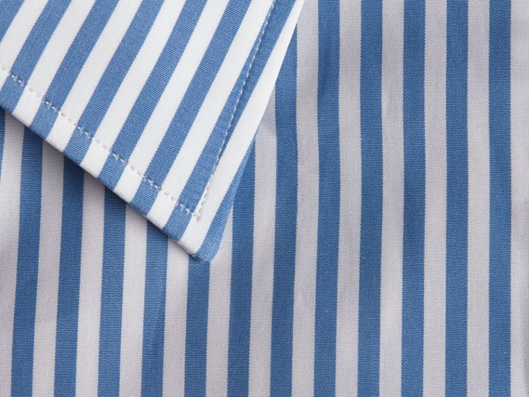 Mid blue Slim Fit Striped Cotton Poplin Shirt Mid Blue - cell image 1
