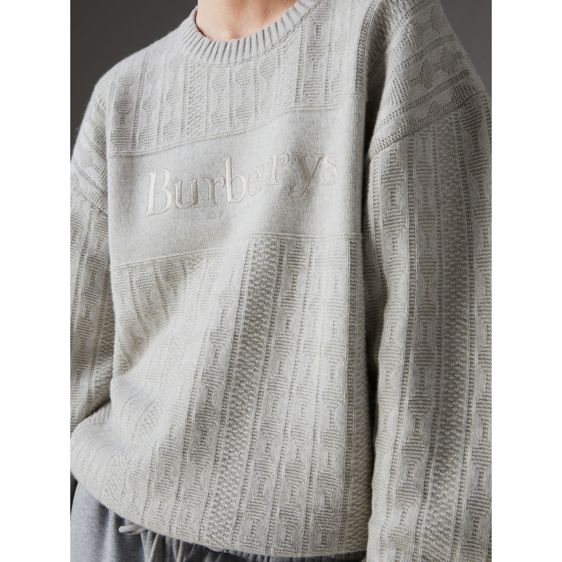 Reissued Lambswool Cotton Sweater in Light Grey Melange - Women | Burberry Canada - gallery image 1