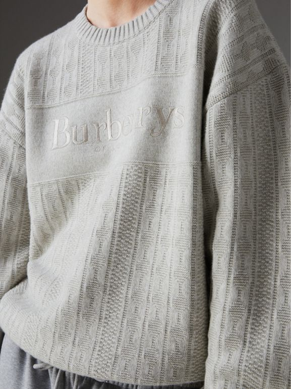 Reissued Lambswool Cotton Sweater in Light Grey Melange - Women | Burberry United States - cell image 1