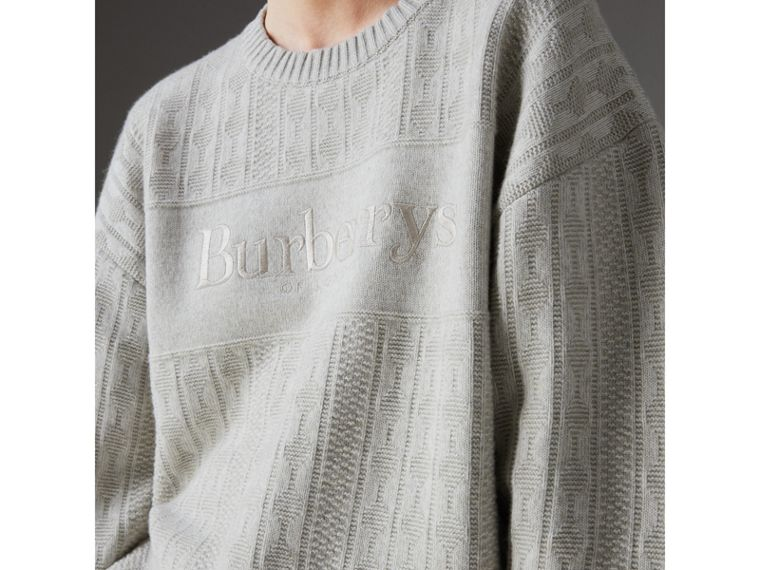 Reissued Lambswool Cotton Sweater in Light Grey Melange - Women | Burberry Hong Kong - cell image 1