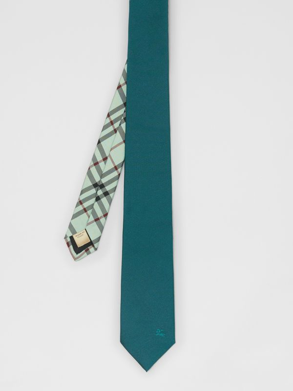 Modern Cut Check Detail Silk Tie in Dark Cyan - Men | Burberry - cell image 2