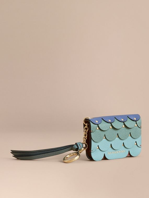 Scalloped Leather Card Case in Bright Toffee
