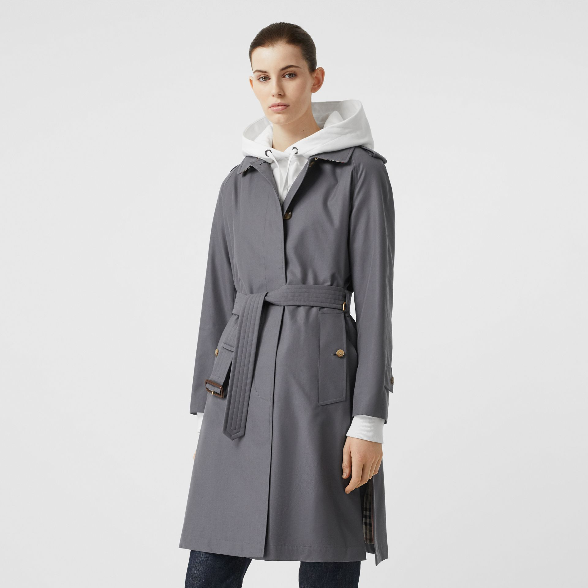 Cotton Gabardine Belted Car Coat in Mid Grey - Women | Burberry United States - gallery image 6