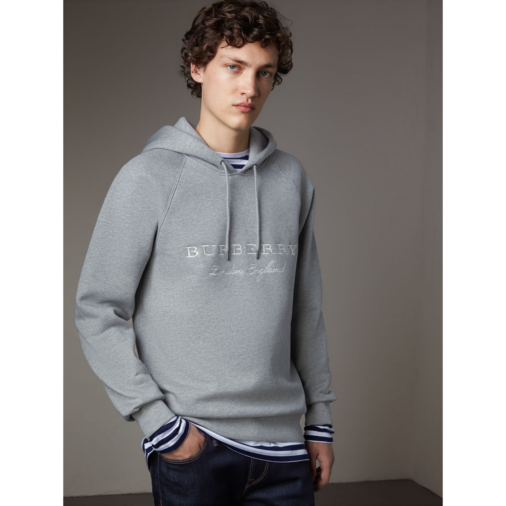 Embroidered Hooded Sweatshirt in Grey Melange - Men | Burberry United Kingdom - gallery image 4