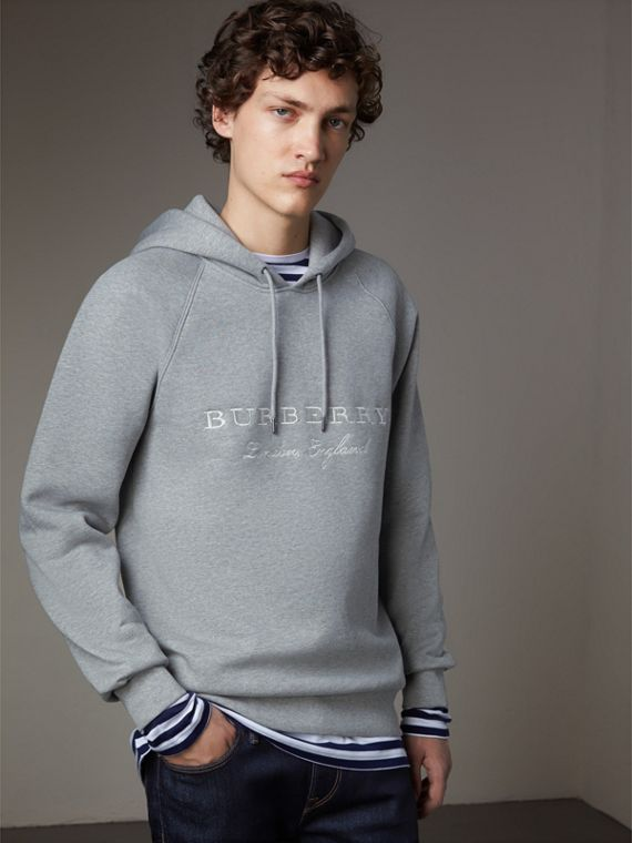 Embroidered Hooded Sweatshirt in Grey Melange - Men | Burberry Australia