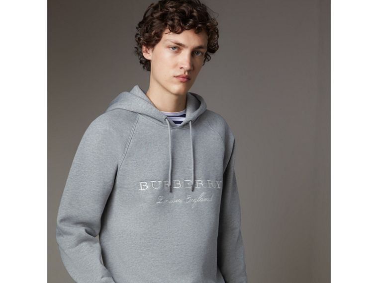 Embroidered Hooded Sweatshirt in Grey Melange - Men | Burberry United Kingdom - cell image 4