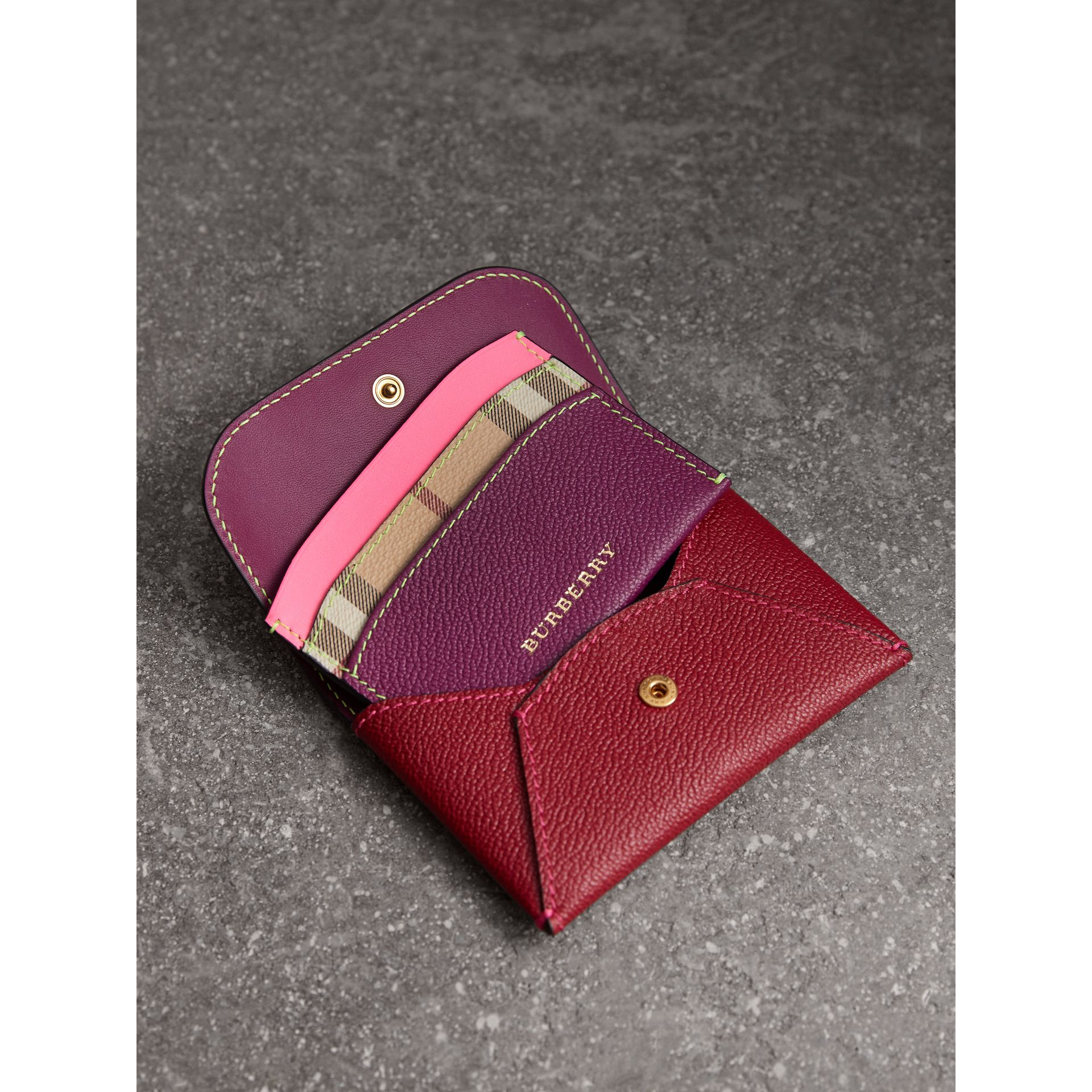 Leather Coin Case with Removable Card Compartment in Parade Red/multicolour - Women | Burberry United Kingdom - gallery image 3