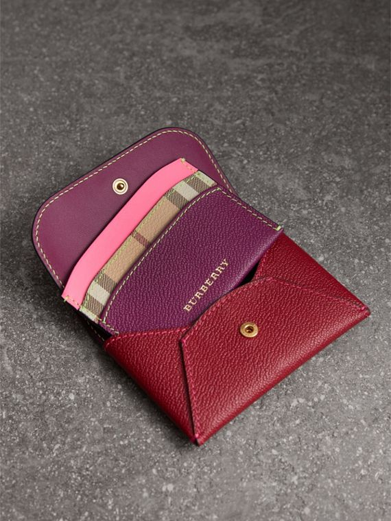 Leather Coin Case with Removable Card Compartment in Parade Red/multicolour - Women | Burberry - cell image 3