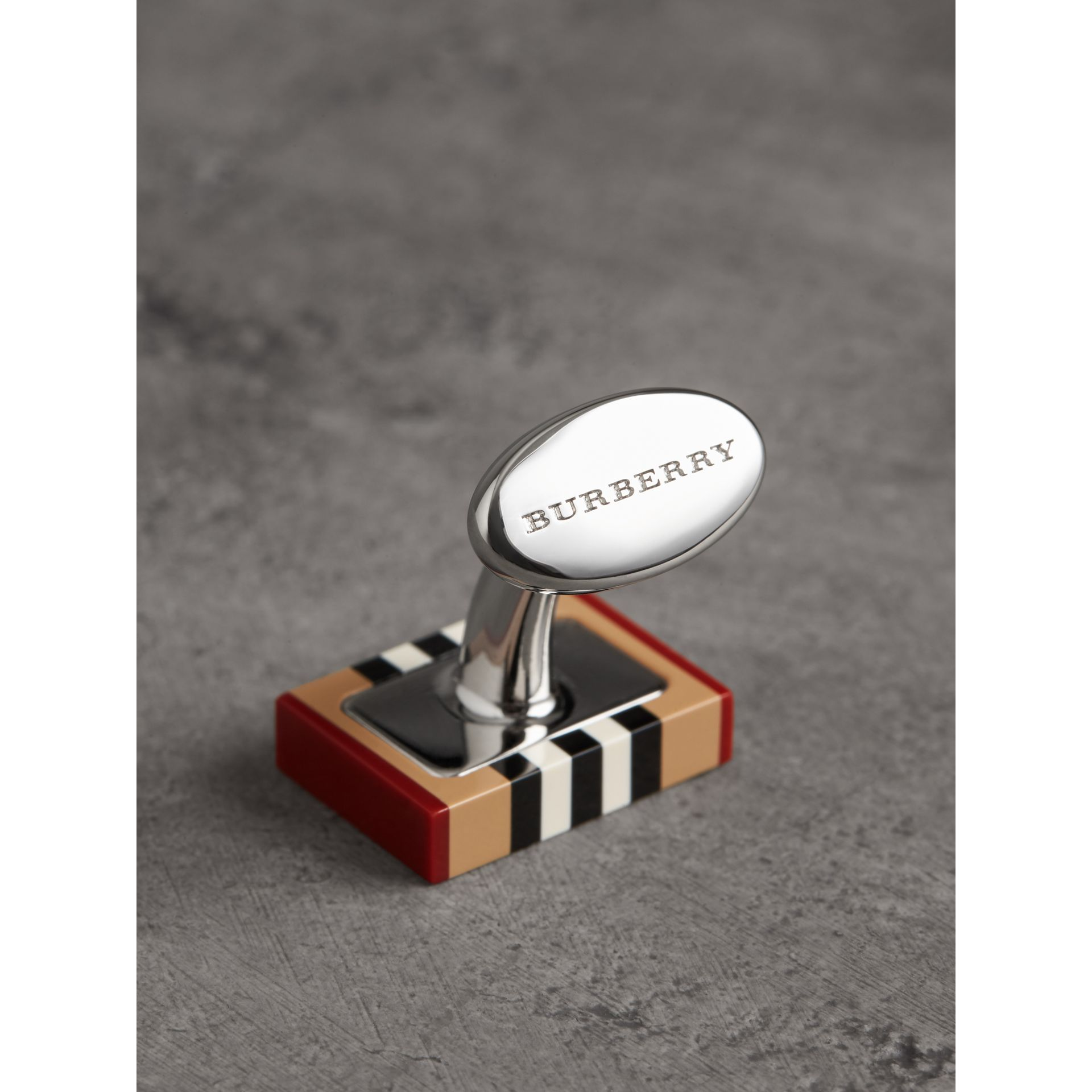 Heritage Stripe Cufflinks in Vintage Check - Men | Burberry - gallery image 1