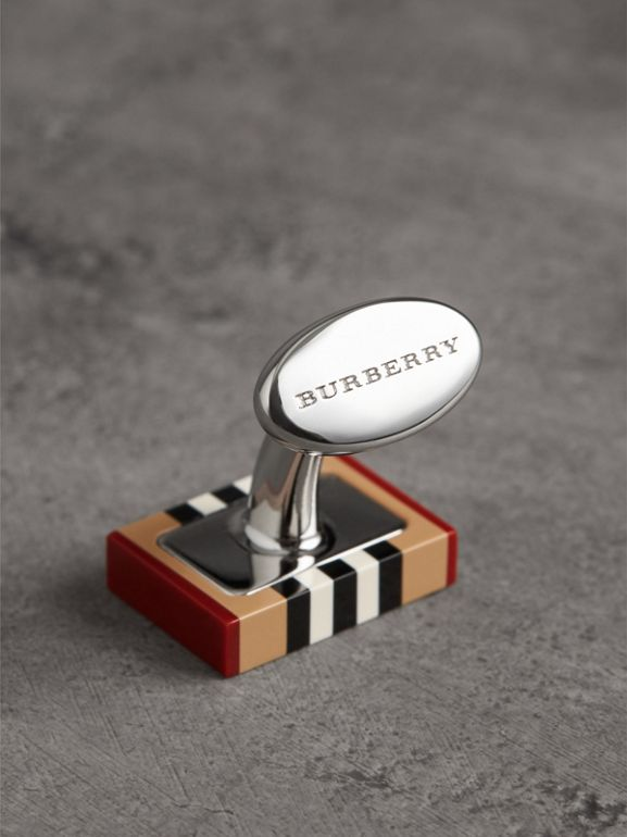 Icon Stripe Cufflinks in Antique Yellow - Men | Burberry - cell image 1