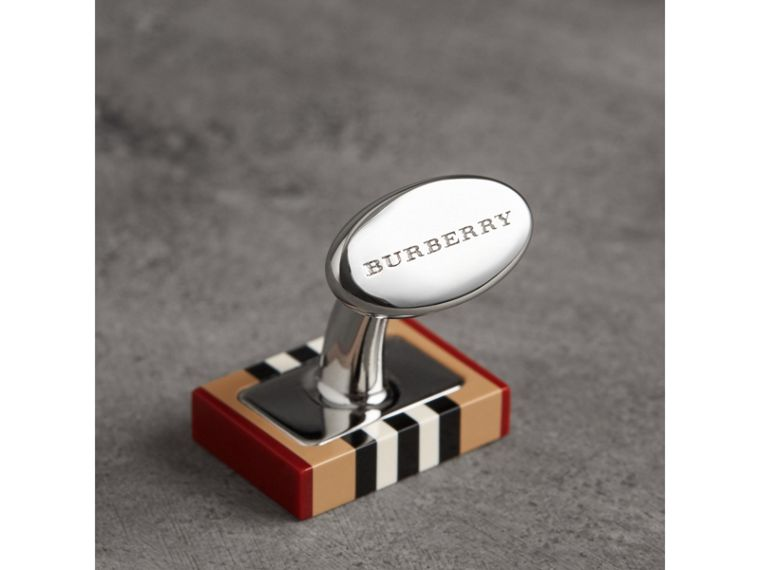 Heritage Stripe Cufflinks in Vintage Check - Men | Burberry United States - cell image 1
