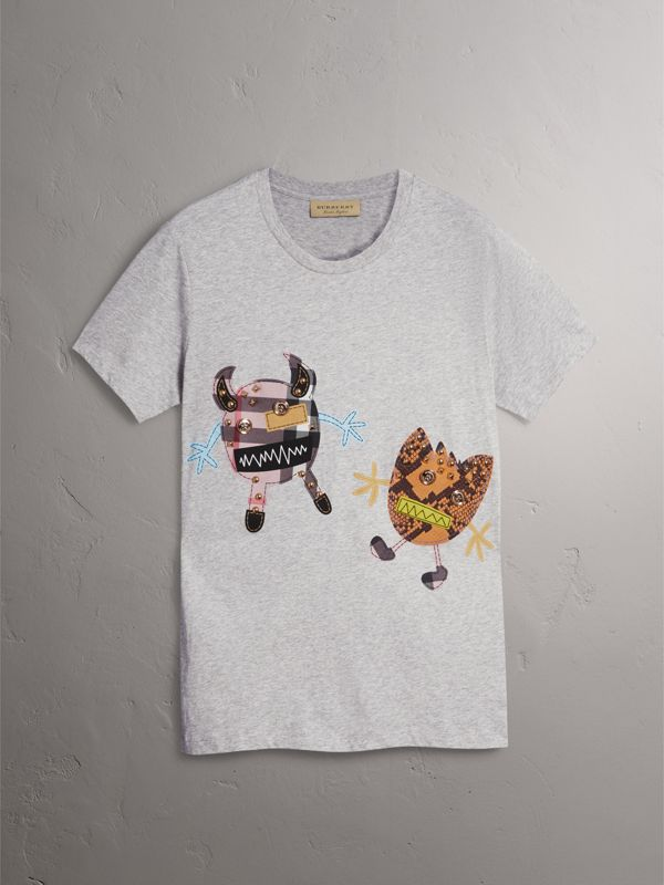 Creature Motif Cotton T-shirt in Pale Grey Melange - Men | Burberry - cell image 3