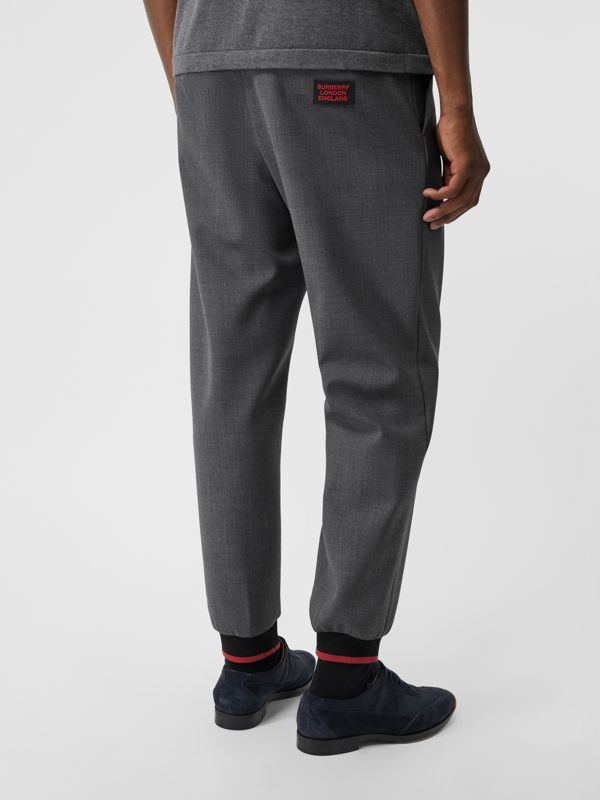 Stripe Detail Stretch Wool Neoprene Trackpants in Dark Grey Melange - Men | Burberry - cell image 2