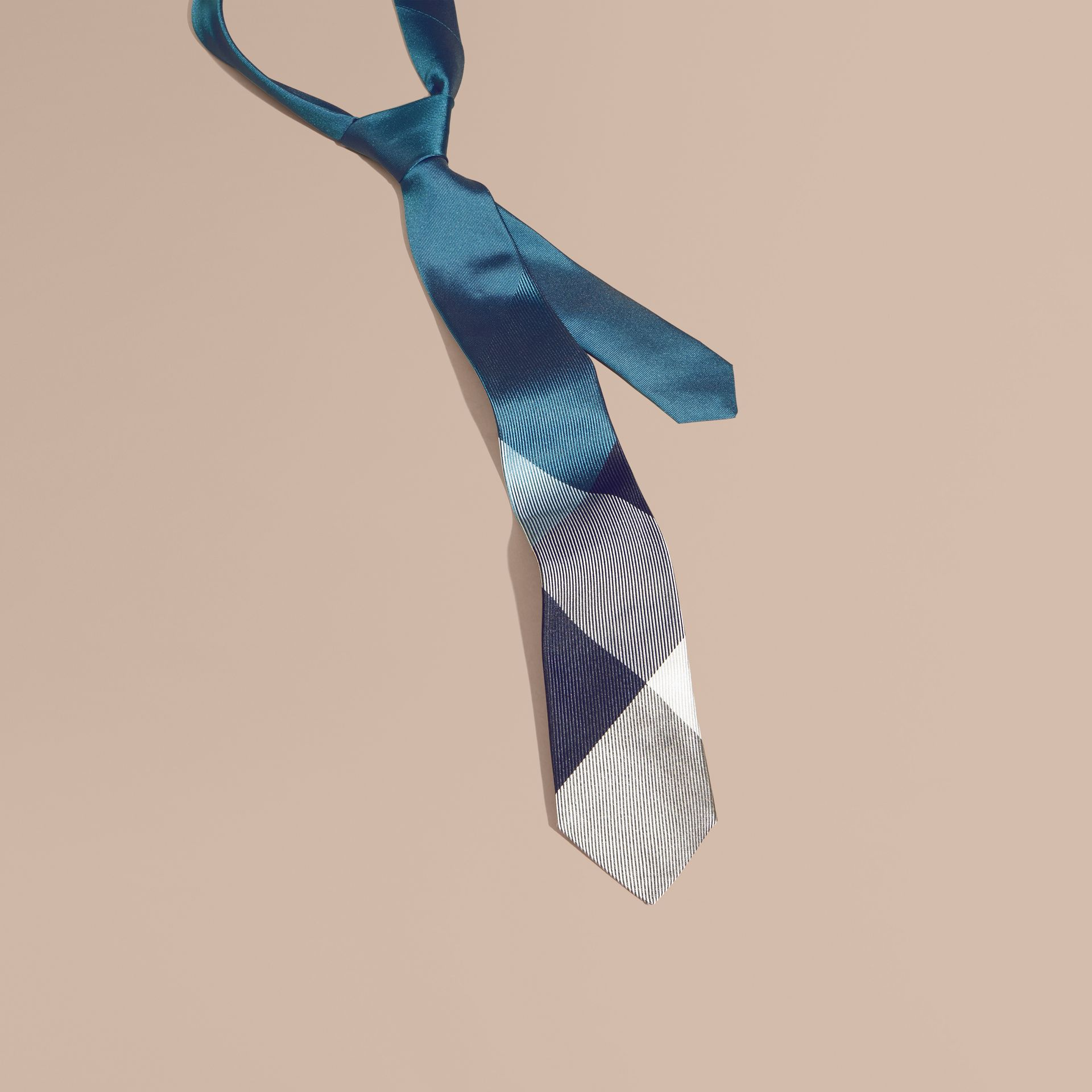 Mineral blue Modern Cut Check Jacquard Silk Tie Mineral Blue - gallery image 1