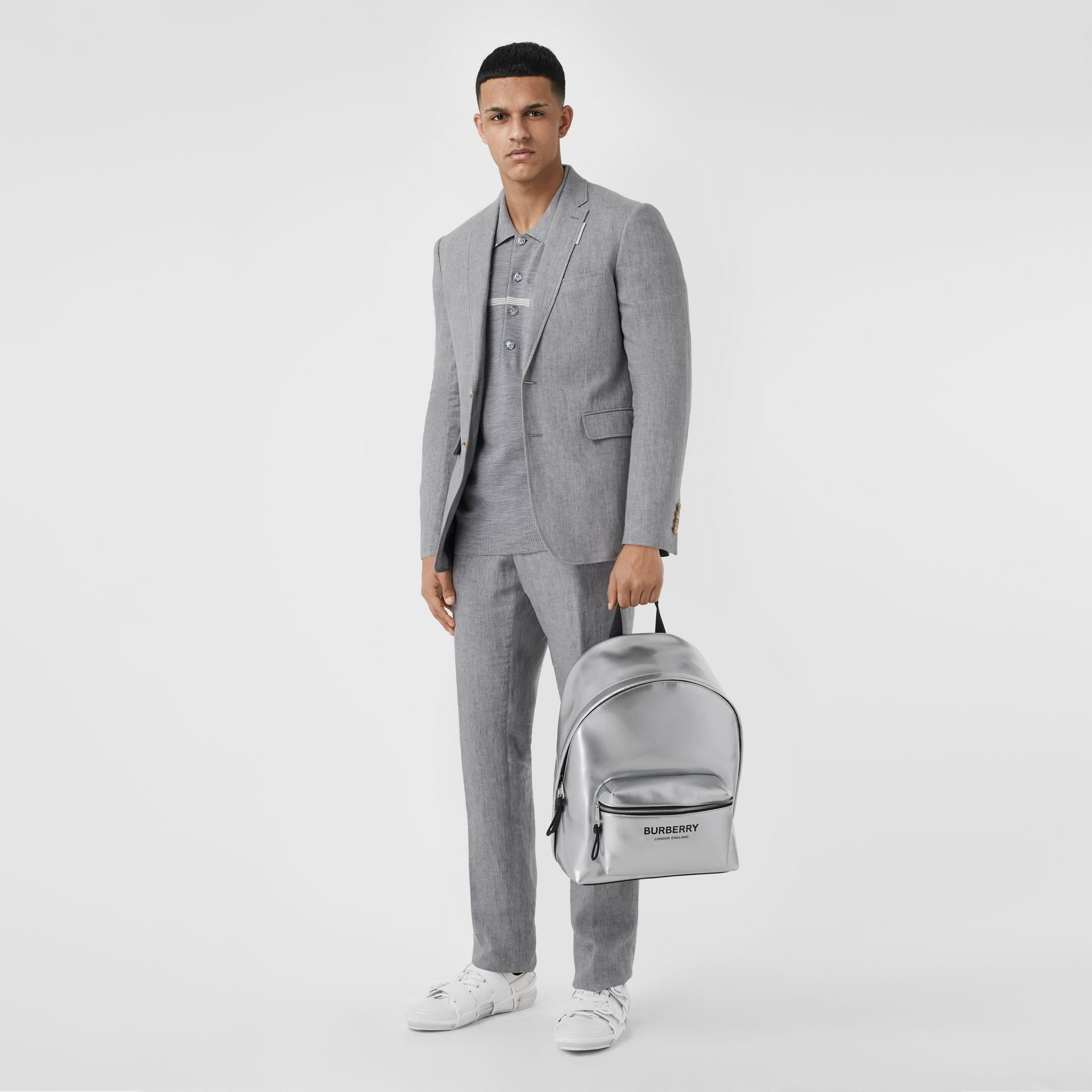 Metallic Coated Canvas Backpack in Silver   Burberry United States - gallery image 5