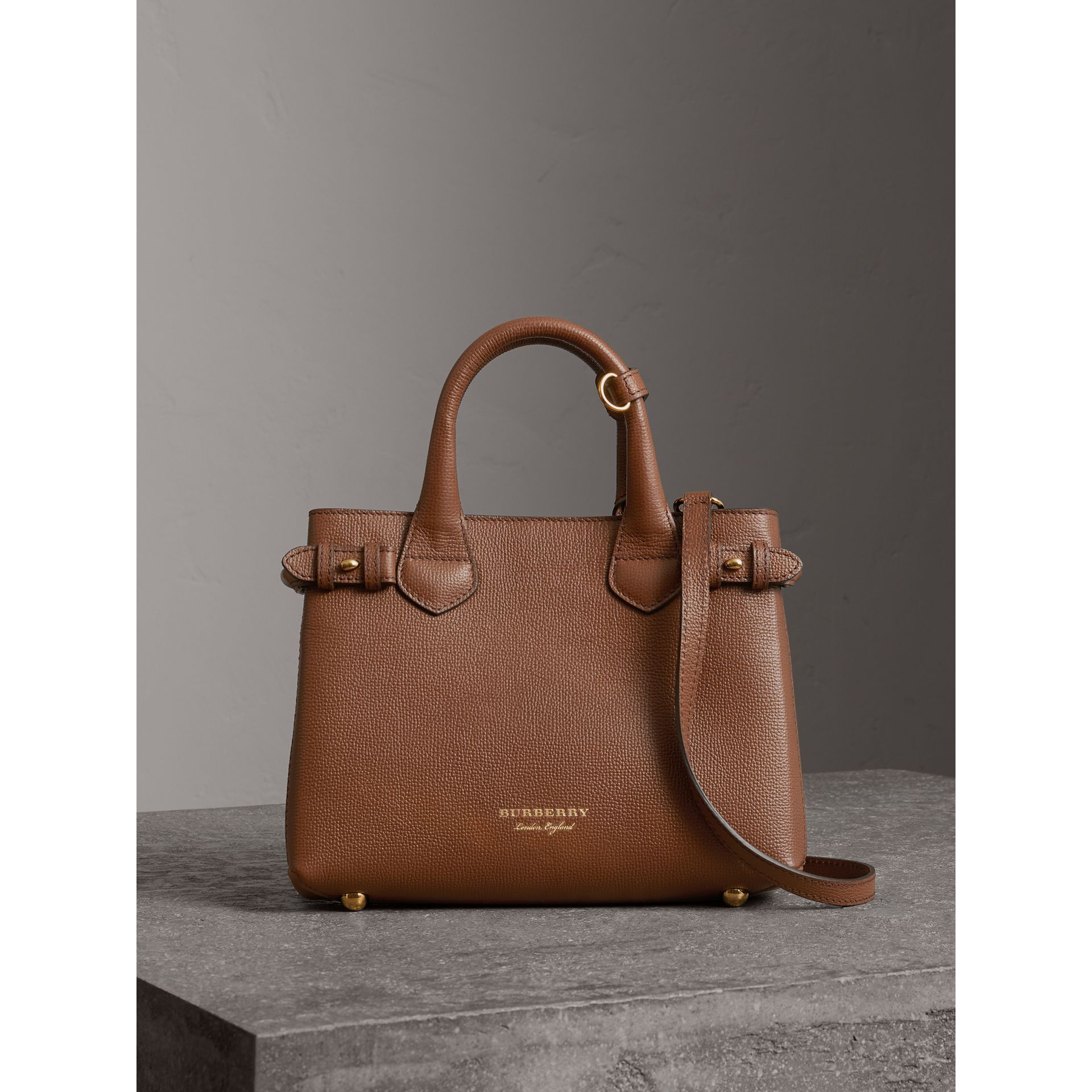 The Small Banner in Leather and House Check in Tan - Women | Burberry United States - gallery image 6