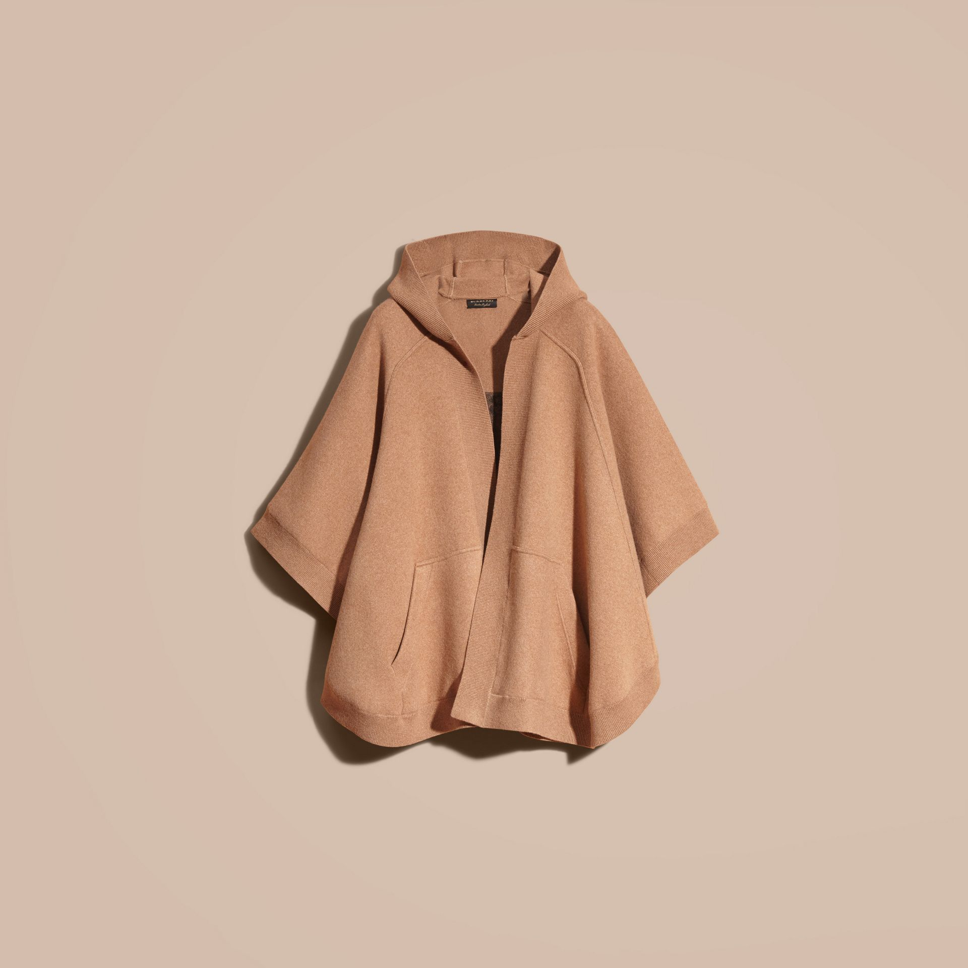Wool Cashmere Blend Hooded Poncho Camel - gallery image 4
