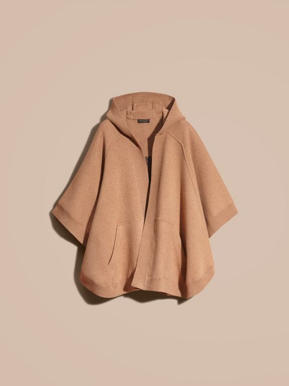 Wool Cashmere Blend Hooded Poncho Camel - cell image 3