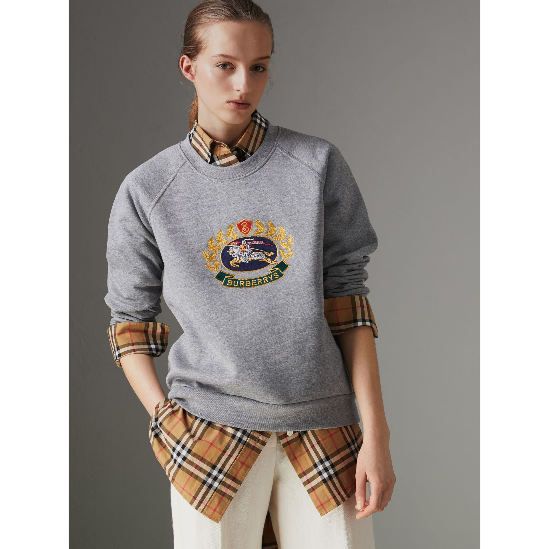 Embroidered Archive Logo Cotton Blend Sweatshirt in Pale Grey Melange - Women | Burberry United Kingdom - gallery image 4