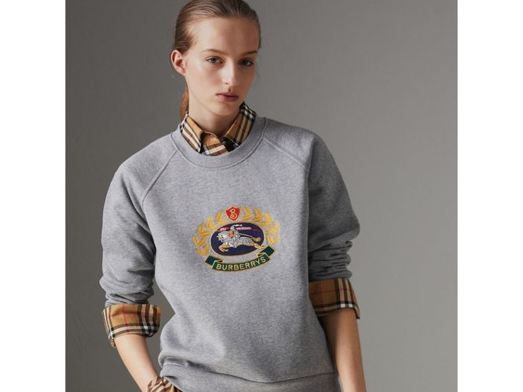 Embroidered Archive Logo Cotton Blend Sweatshirt in Pale Grey Melange - Women | Burberry - cell image 4