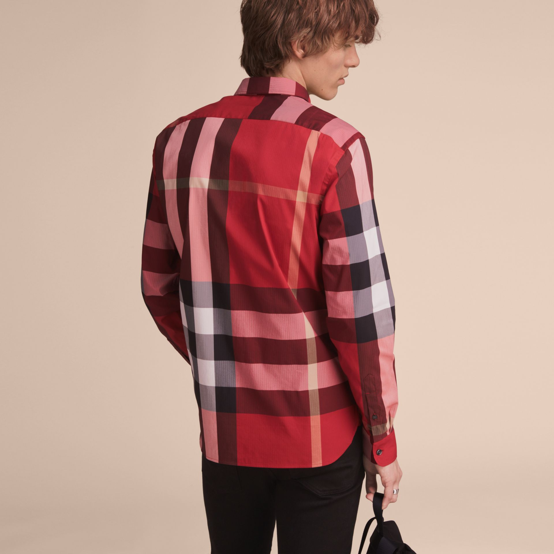 Button-down Collar Check Stretch Cotton Blend Shirt in Parade Red - Men | Burberry Australia - gallery image 3