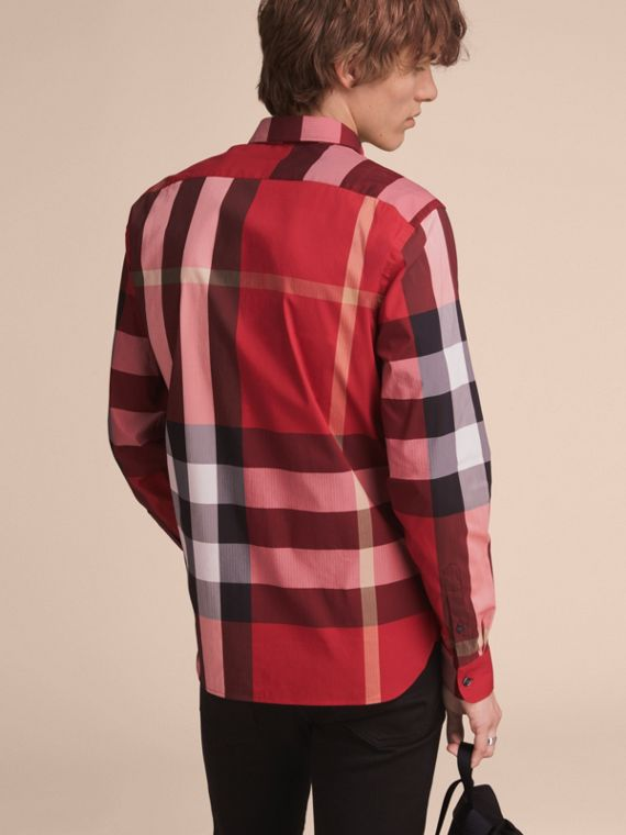 Button-down Collar Check Stretch Cotton Blend Shirt in Parade Red - Men | Burberry Canada - cell image 2
