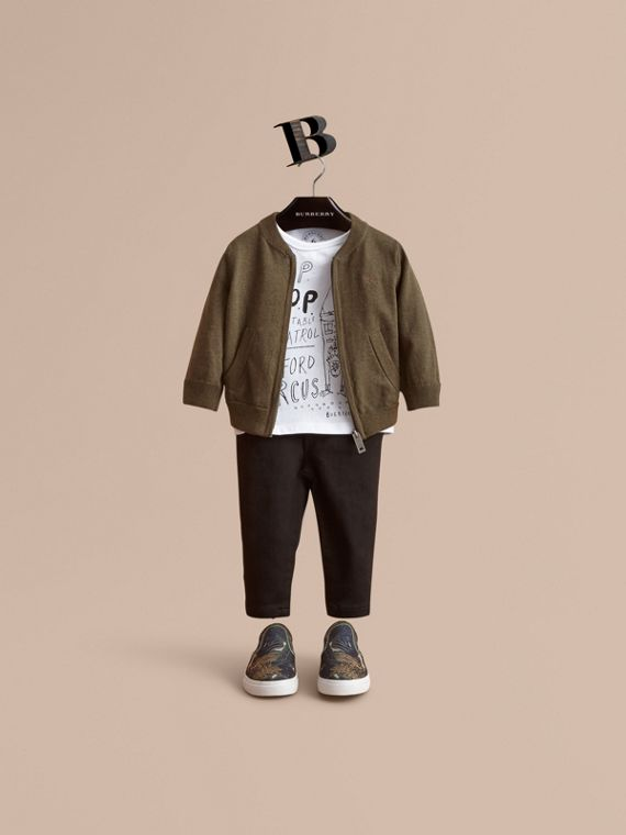 Check Detail Cotton Zip-front Cardigan - Children | Burberry Singapore