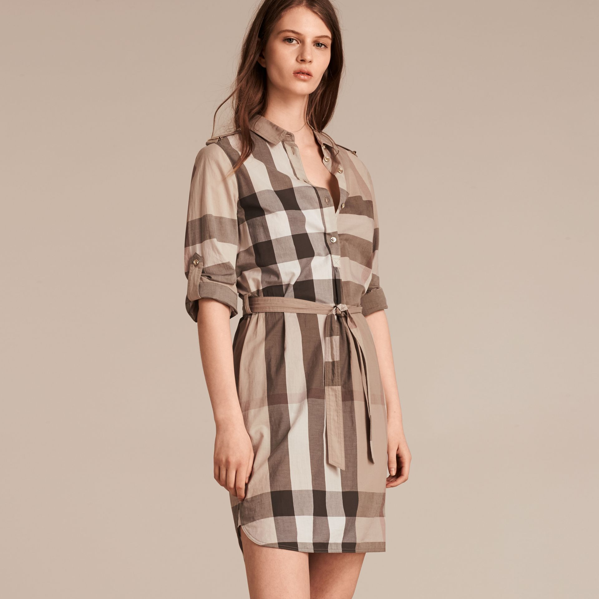 Check Cotton Shirt Dress in Pale Stone - gallery image 7