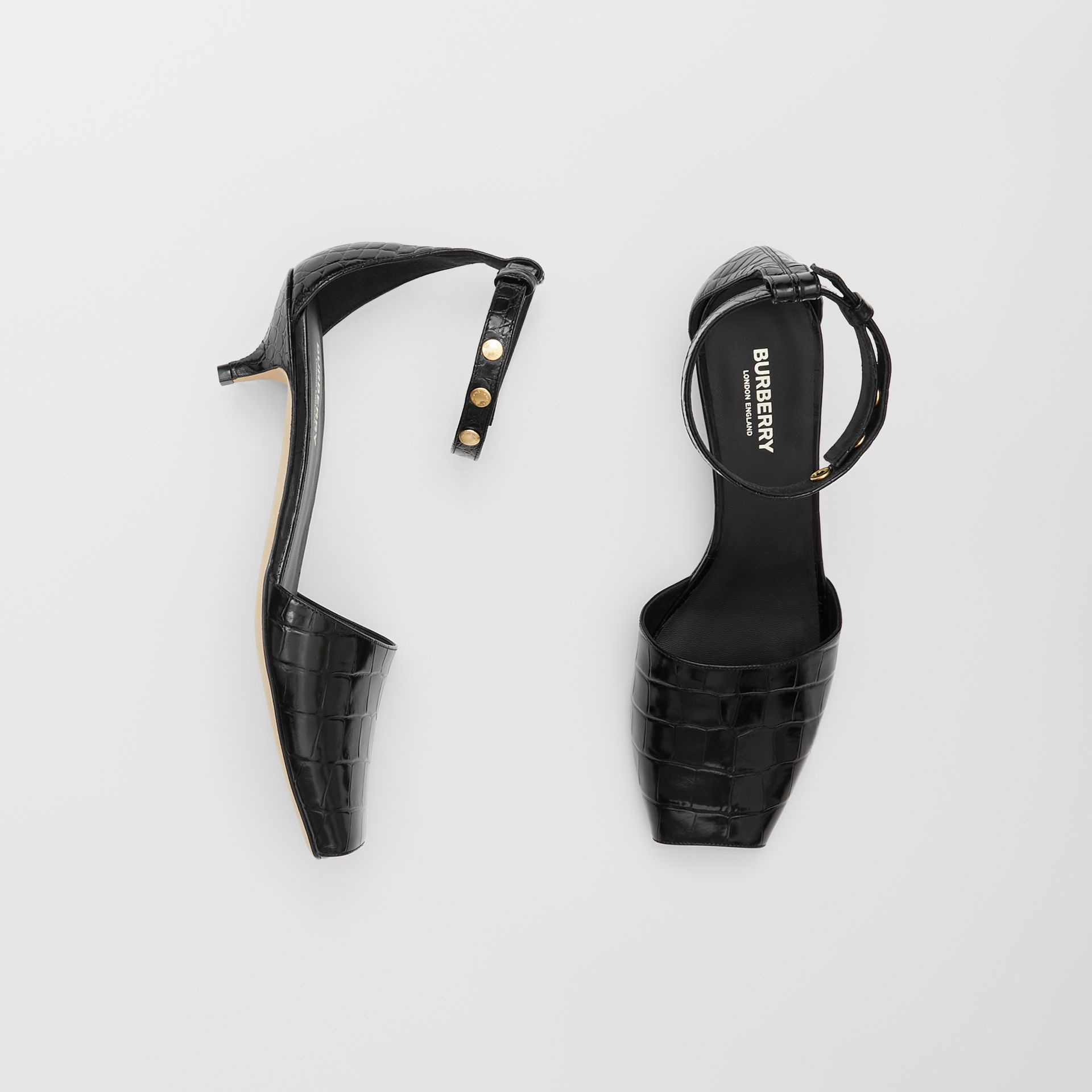 Triple Stud Embossed Leather Sandals in Black - Women | Burberry Australia - gallery image 0