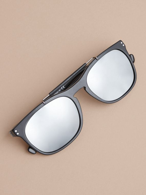 Top Bar Square Frame Sunglasses in Black - Men | Burberry Australia - cell image 2