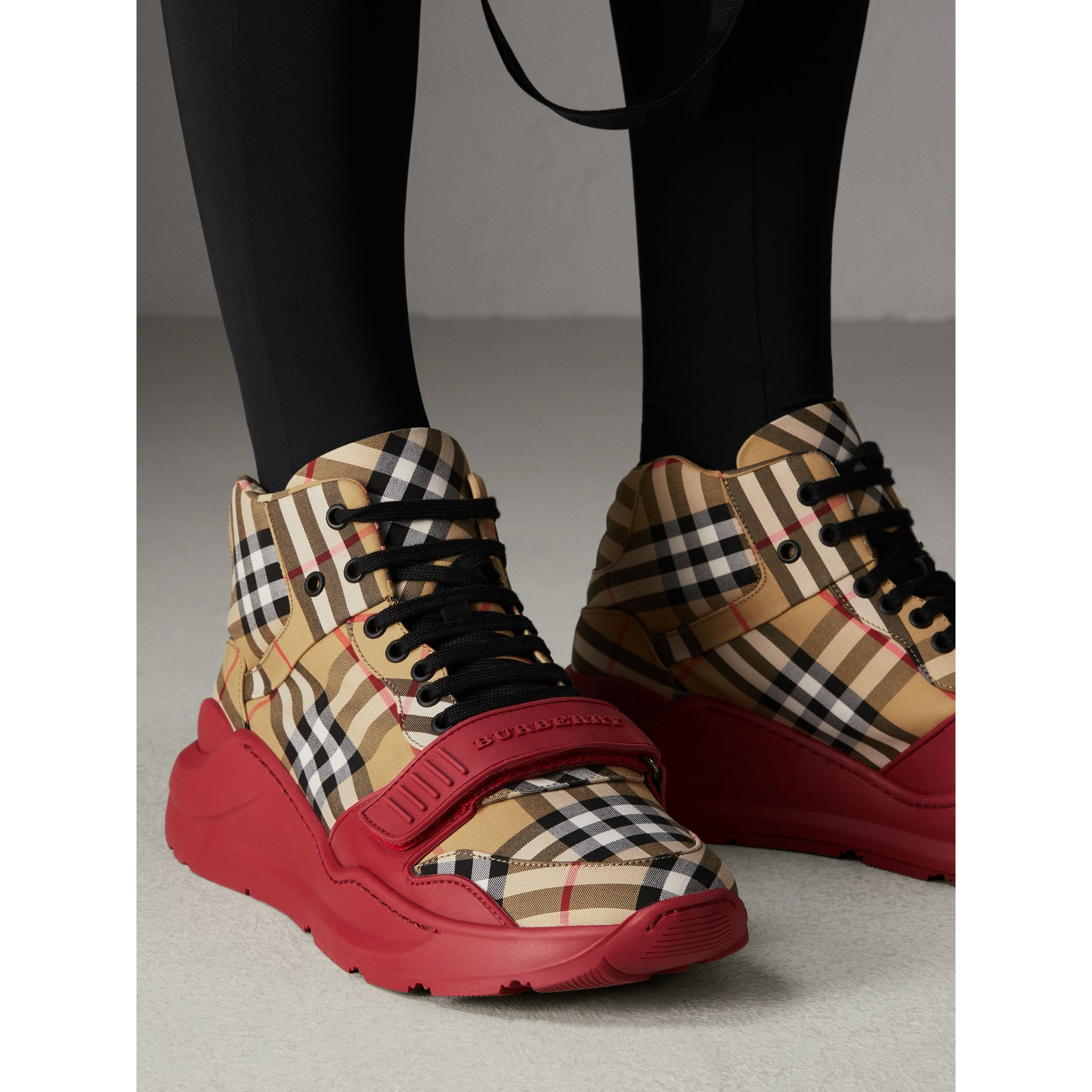 Vintage Check High-top Sneakers in Antique Yellow/military Red | Burberry Australia - gallery image 2