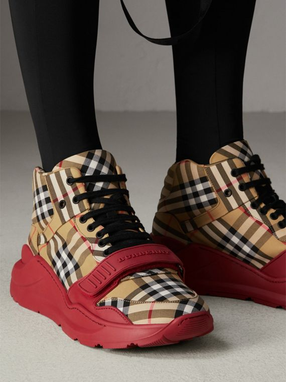 Vintage Check High-top Sneakers in Antique Yellow/military Red | Burberry Australia - cell image 2