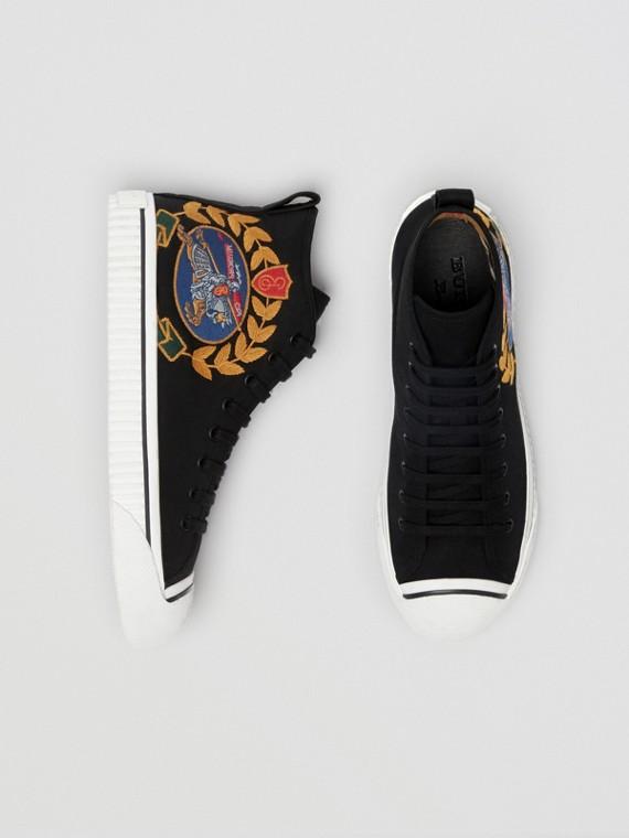 Sneaker alte in gabardine di cotone con logo d'archivio (Nero)