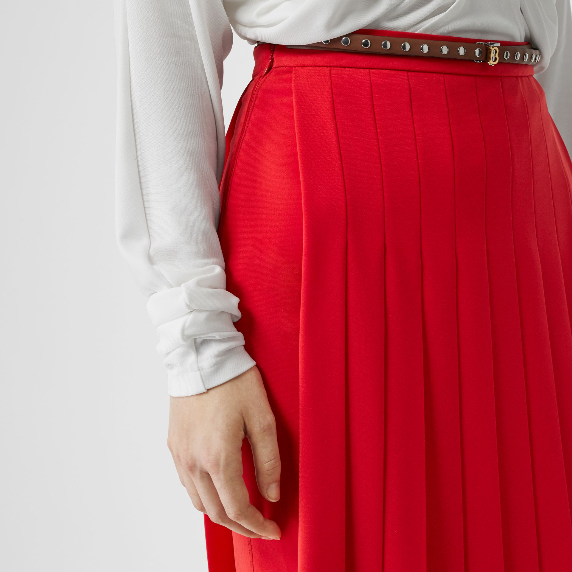 Stretch Cady Pleated Skirt in Bright Red - Women | Burberry Australia - gallery image 1