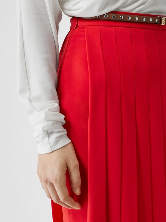 Stretch Cady Pleated Skirt in Bright Red - Women | Burberry Hong Kong - cell image 1