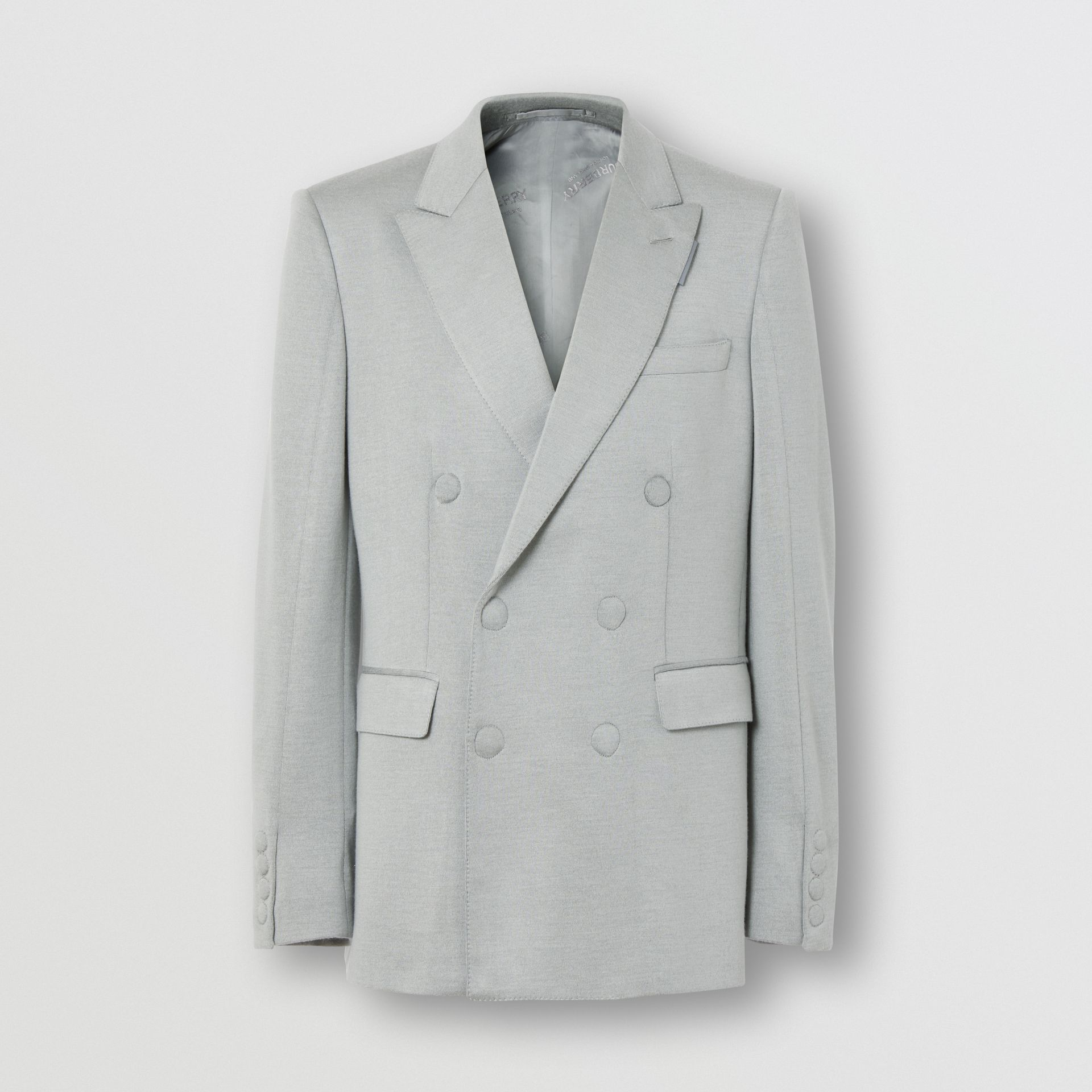 English Fit Cashmere Silk Jersey Double-breasted Jacket in Light Pebble Grey | Burberry United States - gallery image 3