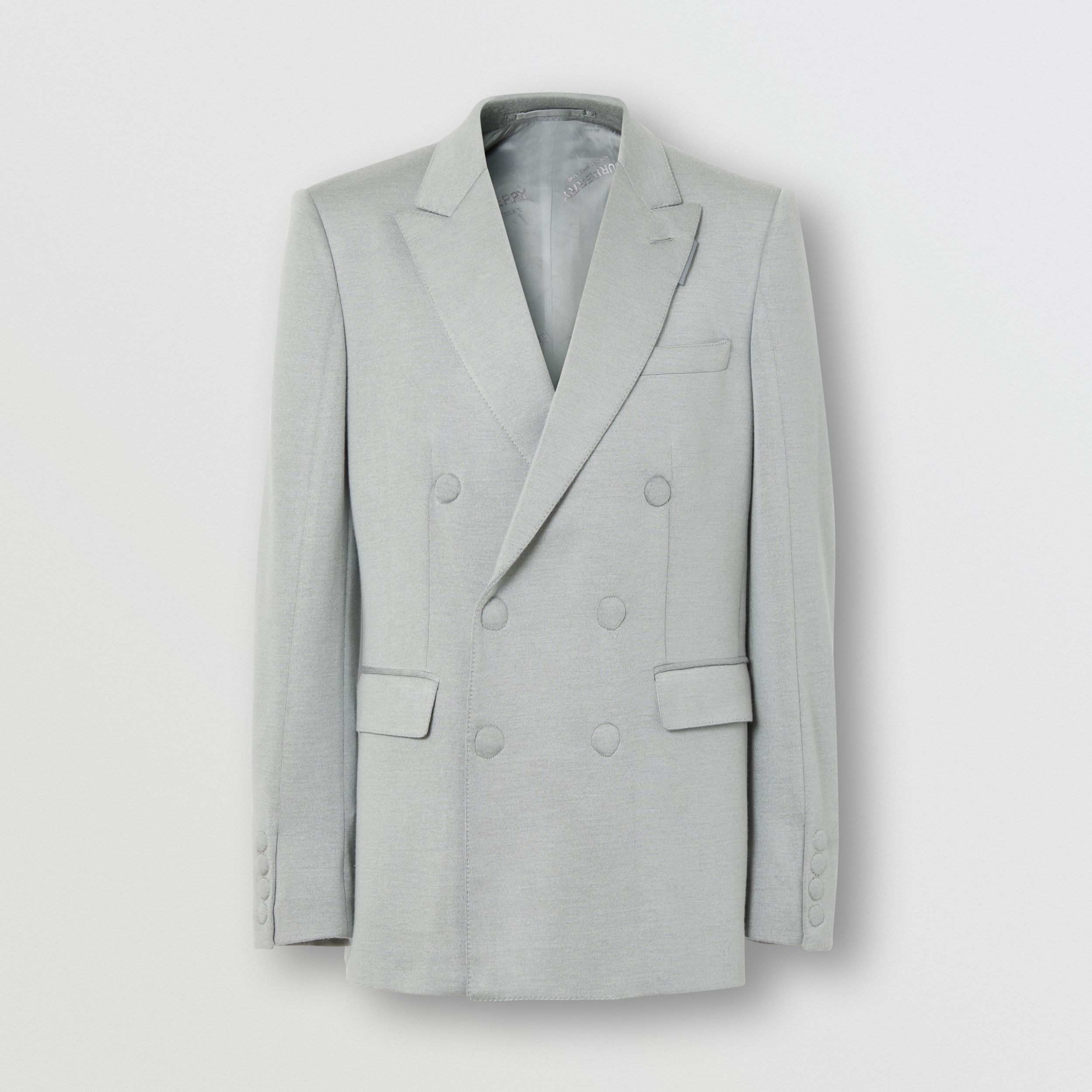 English Fit Cashmere Silk Jersey Double-breasted Jacket in Light Pebble Grey - Men | Burberry - 4