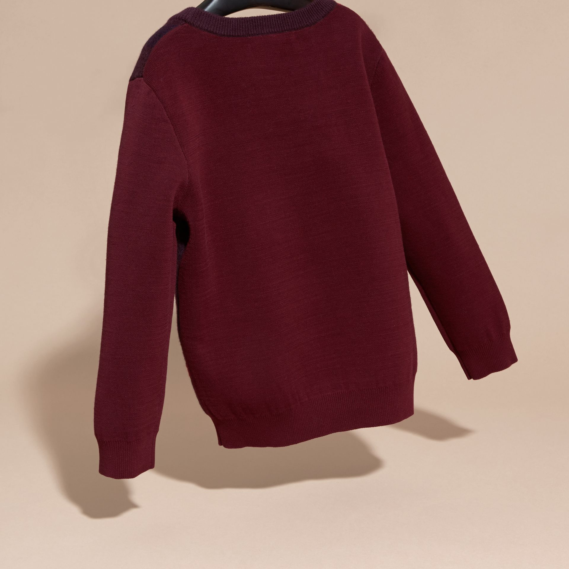 Deep claret Check Wool Cashmere Blend Sweater Deep Claret - gallery image 4